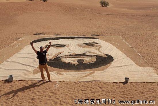 加拿大画家在迪拜沙漠绘制出世界最大沙画作品