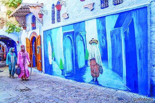 在北非摩洛哥古镇 走进蓝色的童话世界