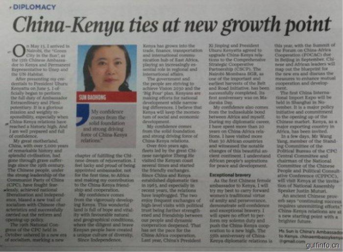 驻肯尼亚大使孙保红在肯第一大报《民族日报》发表署名文章——《百尺竿头须进步》