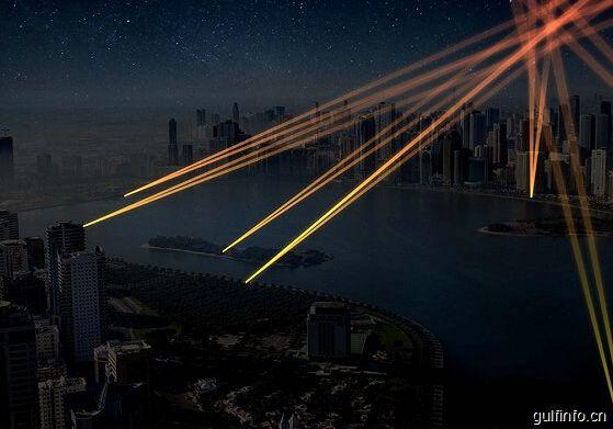 """为展示阿拉伯文化 沙迦邀请国际艺术家用灯光""""涂鸦""""城市"""