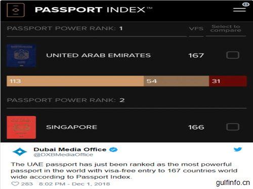 阿联酋护照现成为世界上最强大的护照